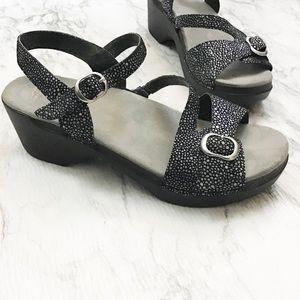 Dansko Black and Silver Platform Sandal